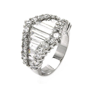925 Sterling Silver Ladies Jewelry Baguettes Cubic Zirconia Stones Ring Width: 15.3mm