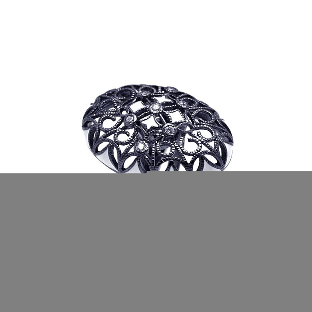925 Sterling Silver Ladies Jewelry Oval Flower Design Black Rhodium Ring