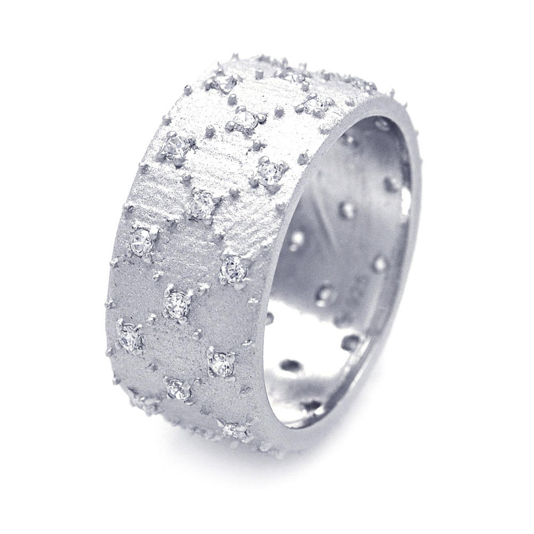925 Sterling Silver Ladies Jewelry Wide Cubic Zirconia Band Ring