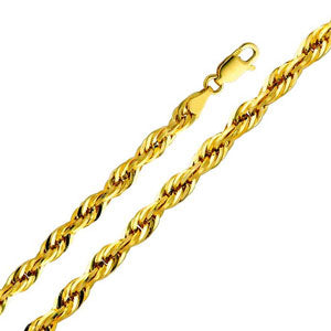 14K Yellow Gold 5mm Diamond-Cut Hollow Rope Chain Necklace with Lobster Claw Clasp