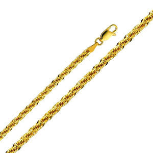 14K Yellow Gold 4mm Hollow Fancy Rope Chain Necklace with Lobster Claw Clasp