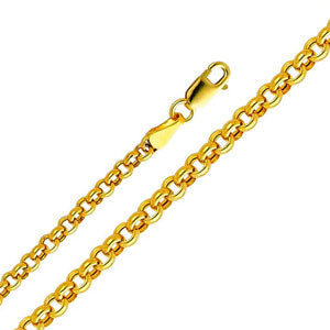 14K Yellow Gold 3.8mm Hollow Rollo Chain Necklace with Lobster Claw Clasp