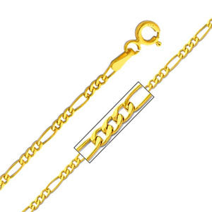 14K Yellow Gold 1.9mm Hollow Figaro 3+1 Chain Necklace with Lobster Claw Clasp