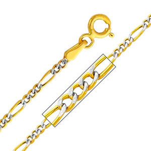14K Yellow Gold White Pave 1.9mm Hollow Figaro 3+1 Chain Necklace with Lobster Claw