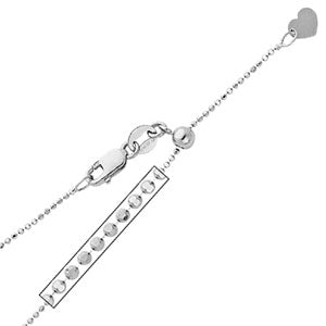 14K White Gold 0.9mm Adjustable Ball Chain Necklace (Length:20