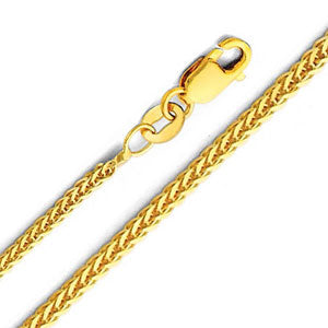 14K Yellow Gold 1.0mm Braided Square Wheat Chain Necklace with Lobster Claw 24 Inch