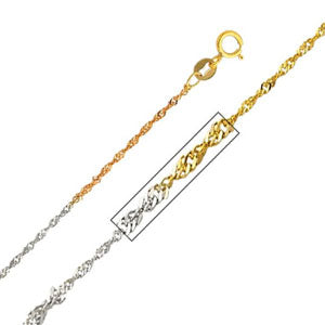 14K Tri-Color Gold 1.2mm Singapore Necklace Chain with Spring Ring Clasp