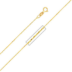 14K Yellow Gold 0.6mm Cobra Chain Necklace with Spring Ring Clasp