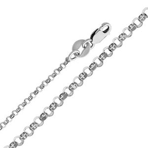 14K White Gold 1.6mm Classic Rollo Cable Chain Necklace with Lobster Claw Clasp