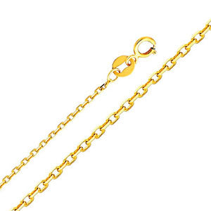 14K Yellow Gold 0.9mm Oval Angle Cut Rolo Cable Chain Necklace with Spring Ring Clasp