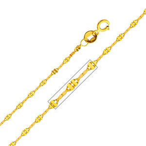 14K Yellow Gold 1.7mm Twisted Mirror Chain Necklace with Spring Ring Clasp