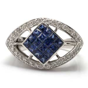 2.00 ctw Invisibly Sapphire Diamond 18k White Gold Gemstone Ring