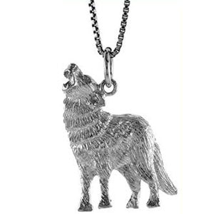 "Sterling Silver ""Wolf"" Pendant with Chain (18"")"