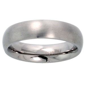"Titanium 5 mm (3/16"") Satin finish Comfort Fit Dome Wedding Ring / Band"