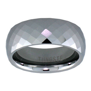 "Tungsten 5/16"" (8mm) Fine Diamond shape Faceted Comfort Fit Domed Band."