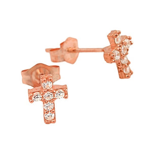 925 Sterling Silver Rose Gold Plated Pave Cubic Zirconia Cross Post Earrings