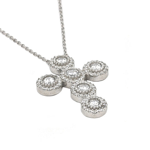 RHODIUM PLATED CZ ROUNDED CROSS NECKLACE 16