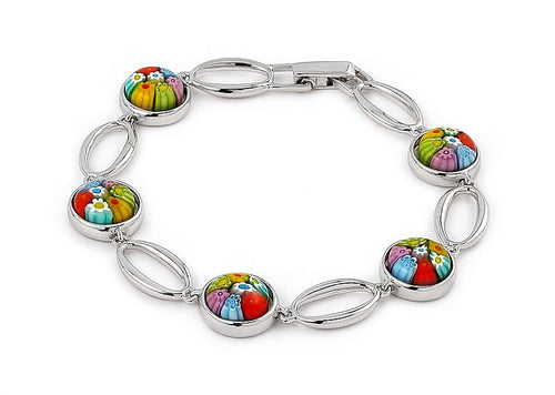 .925 Sterling Silver Nickel Free Multi Color Millefiori Round Bracelet 7