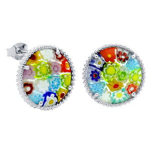 .925 Sterling Silver Nickel Free Multicolor Millefiori 16mm Round Post Earrings