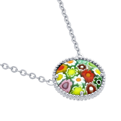 .925 Sterling Silver Nickel Free Multicolor Millefiori 16mm Round Necklace 16