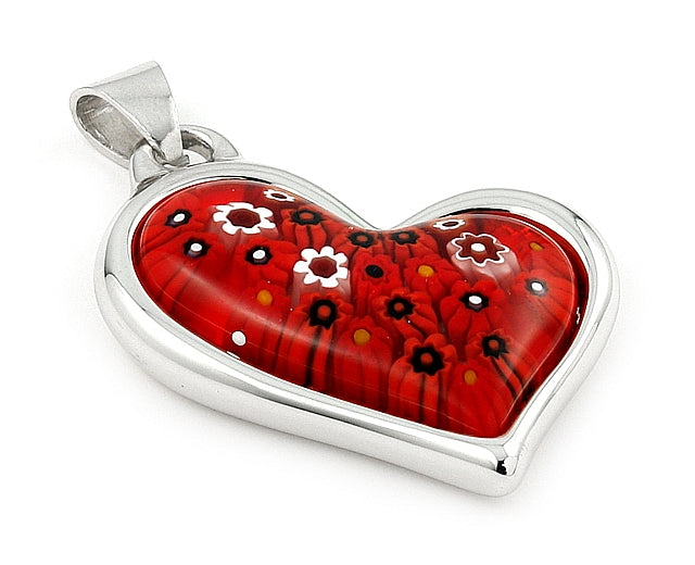 925 Sterling Silver Millefiori Red Electroform Curved Heart Pendant