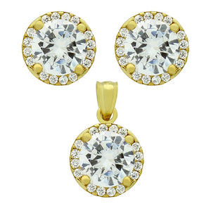 925 Sterling Silver Nickel Free Gold Plated Set: 7.5mm Round Cubic Zirconia