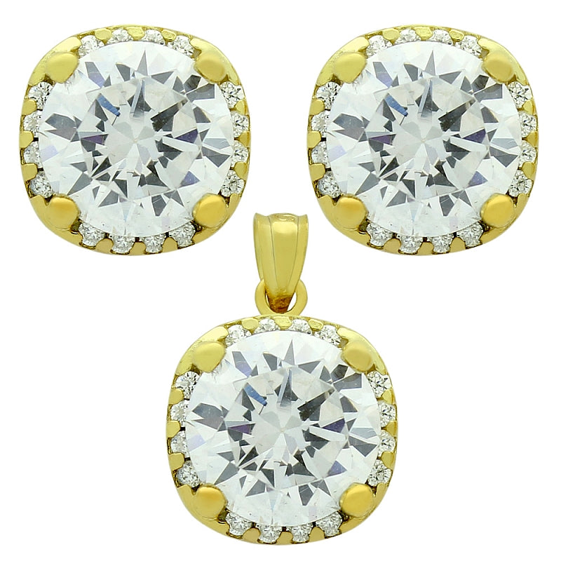 925 Sterling Silver Nickel Free Gold Platubic Zirconia Halo