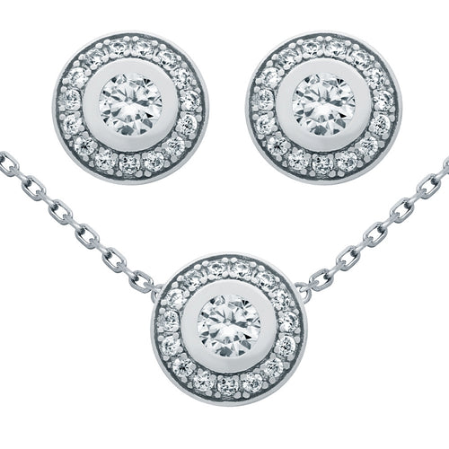.925 Sterling Silver Nickel Free Rhodium Plated Set: Elegant Round Cubic Zirconia Earrings