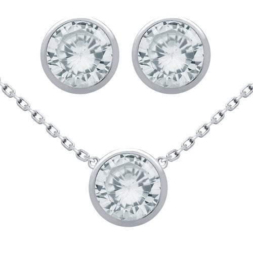 .925 Sterling Silver Nickel Free Rhodium Plated Set: 7.5mm Round Bezel Set Cubic Zirconia