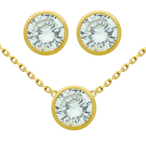 925 Sterling Silver Nickel Free Gold Plated Set: 7.5mm Round Bezel Set Cubic