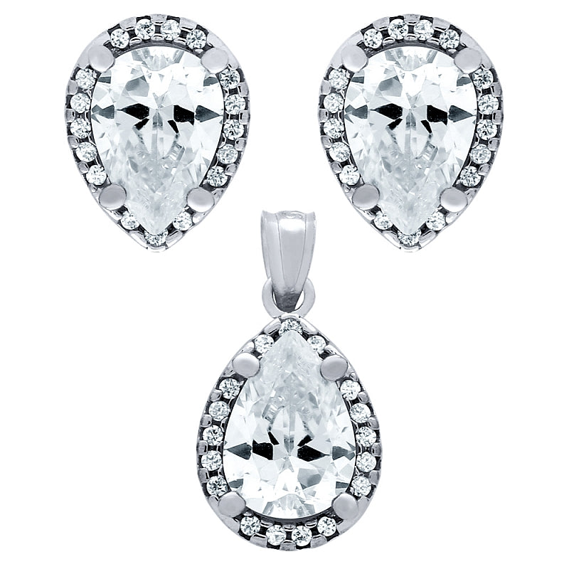 .925 Sterling Silver Nickel Free Rhodium Plated Set: 7X10mm Pear Shape Cubic Zirconia Earringss
