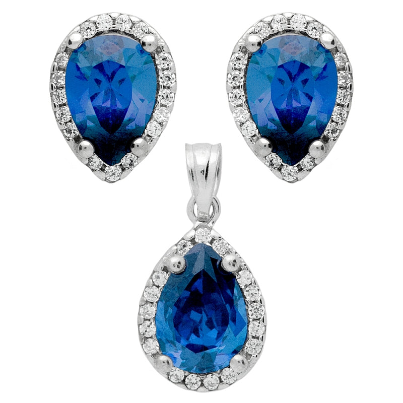 925 Sterling Silver Nickel Free Rhodium Plated Set: Blue 7X10mm