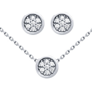 .925 Sterling Silver Nickel Free Rhodium Plated Set: Round Cubic Zirconia Cluster Earrings