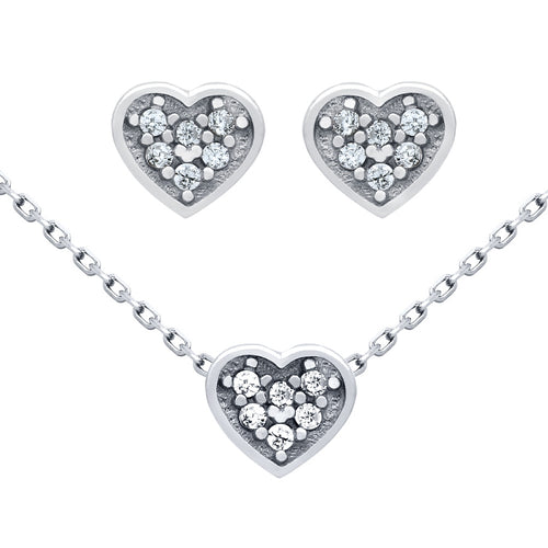 .925 Sterling Silver Nickel Free Rhodium Plated Set: Heart Shaped Cubic Zirconia Cluster