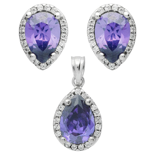 .925 Sterling Silver Nickel Free Rhodium Plated Set: Purple 7X10mm Pear Shape Cubic