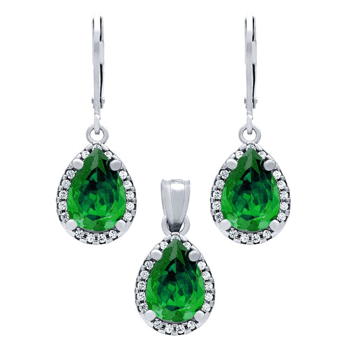 .925 Sterling Silver Nickel Free Rhodium Plated Set:And Pendant