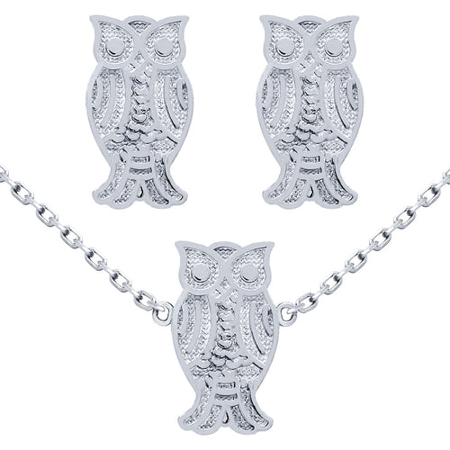 .925 Sterling Silver Nickel Free Rhodium Plated Set: Owl Earrings And 16+2