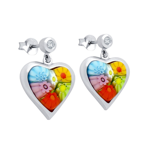 .925 Sterling Silver Nickel Free Multicolor Millefiori 11X11mm Heart Shaped Earrings