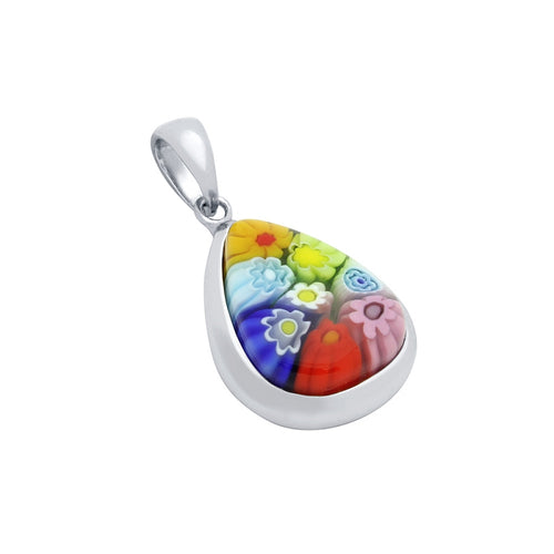 .925 Sterling Silver Nickel Free Multicolor Millefiori Drop Shaped Pendant