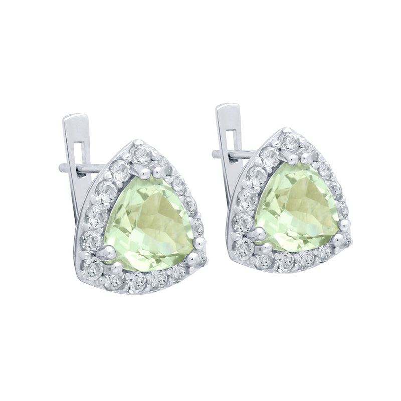 .925 Sterling Silver Trilliant-Cut Genuine Green Amethyst Earrings With White Topaz Halo
