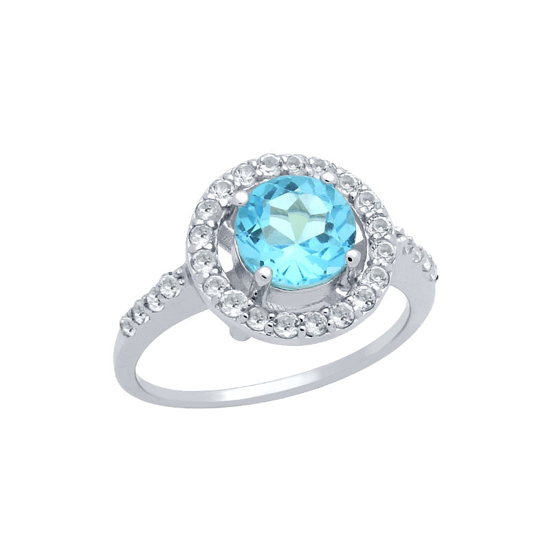 .925 Sterling Silver Round Brilliant-Cut Genuine Swiss Blue Topaz Ring With White Topaz Halo