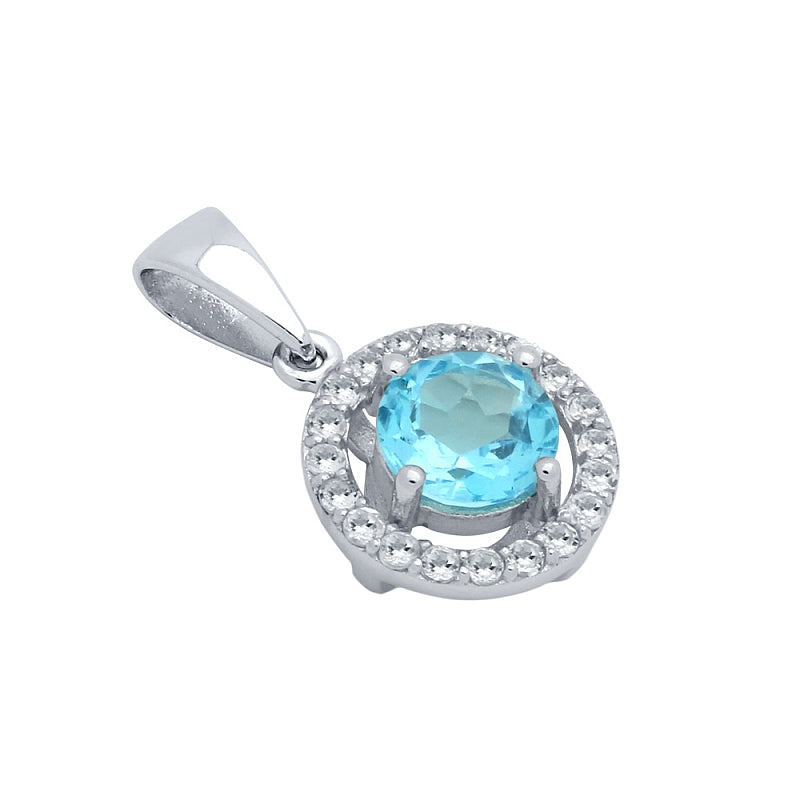 .925 Sterling Silver Round Brilliant-Cut Genuine Swiss Blue Topaz Pendant With White Topaz Halo