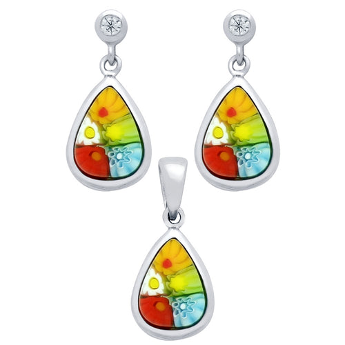 .925 Sterling Silver Nickel Free Millefiori Set: Multi-Colith Cubic