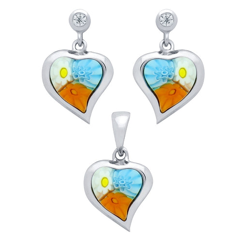 .925 Sterling Silver Nickel Free Millefiori Set: Multi-Color 8X8mm Heart Shaped Earrings