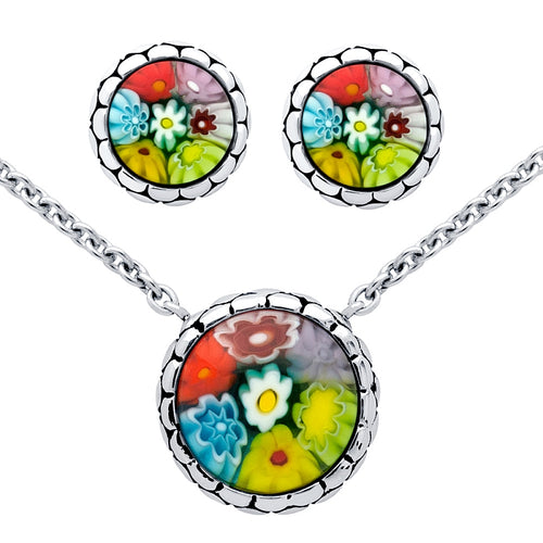 .925 Sterling Silver Nickel Free Millefiori Set: Multi-Color Round Cabochon Stud Earrings