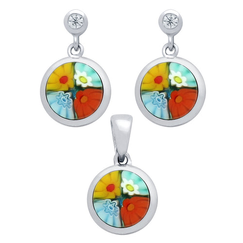 .925 Sterling Silver Nickel Free Millefiori Set: Multi-Color 8mm Round Earrings With Cubic