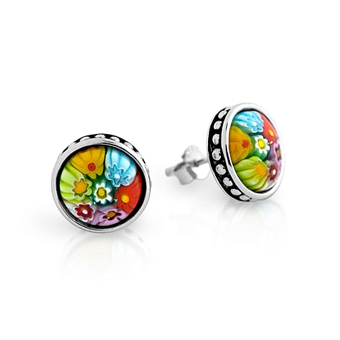 .925 Sterling Silver Nickel Free Multicolor Millefiori 10mm Round Stud Earrings With Beaded Design