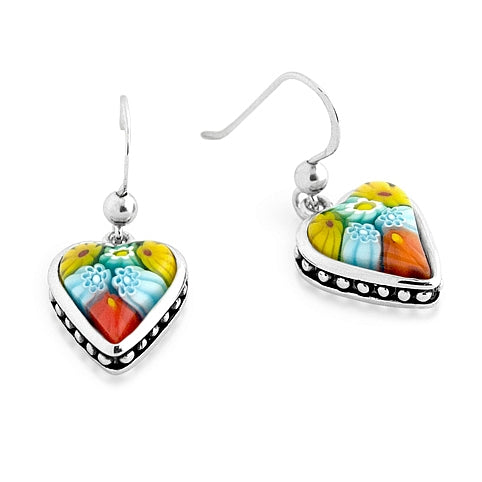 .925 Sterling Silver Nickel Free Multicolor Millefiori Heart Shape Dangling Earrings