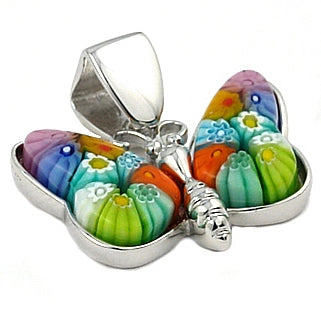 .925 Sterling Silver Nickel Free Multi Color Butterfly Millefiori Animal Pendant