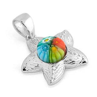 .925 Sterling Silver Nickel Free Multicolor Millefiori Starfish